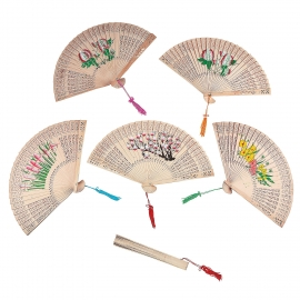 Wooden Floral Fan 6 pc Box